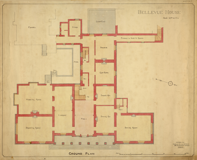 Bellevue House Ground Floor Plan 800 Wexford County Archive
