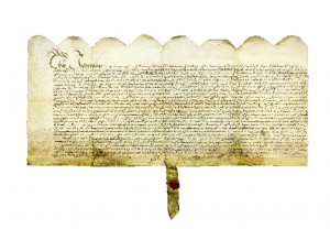 WXCA/P 301 Parchment deed regarding sale of meadow in New Ross by John Rawkins to Constantine Neale, 26 Oct 1679